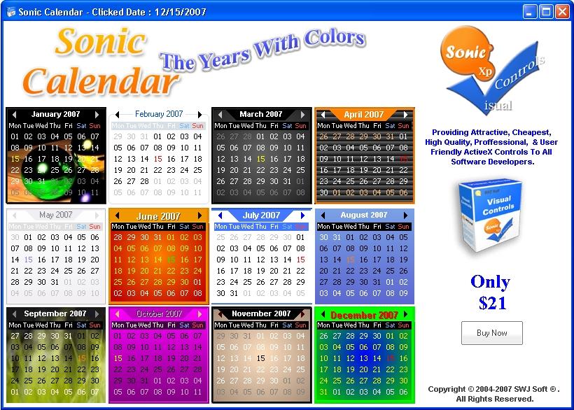 Sonic Calendar ActiveX Control